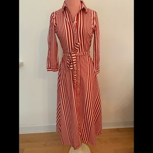 Long red and white striped dress
